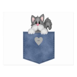 Gato del gatito del bolsillo de Jean Tarjetas Postales