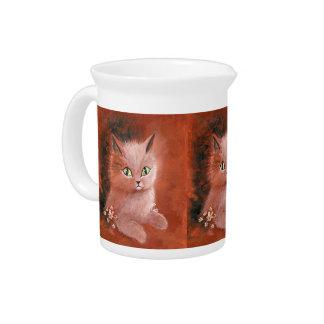 Gato del gatito del día lluvioso jarras de beber