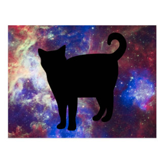 Gato del gatito del espacio en la nebulosa postal
