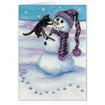 Gato del gatito del muñeco de nieve por la tarjeta