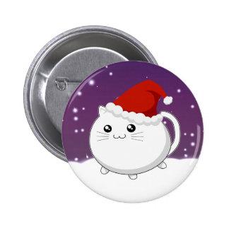 Gato del gatito del navidad de Kawaii Pin Redondo De 2 Pulgadas