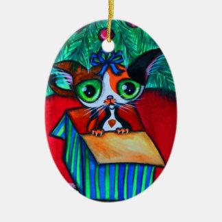 Gato del gatito del navidad en el ornamento del ornamento para reyes magos