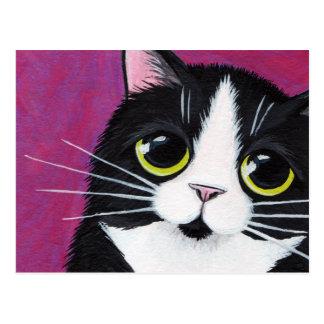 Gato del gatito del smoking en la postal rosada