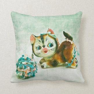 Gato del gatito del vintage cojines