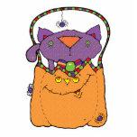 gato del gatito en bolso de la calabaza esculturas fotográficas