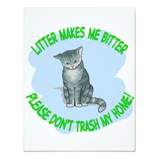 """gato del gatito invitación 4.25"""" x 5.5"""""""