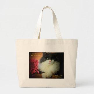 Gato del gatito no asustado del compromiso bolsa tela grande