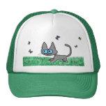 Gato del gatito que juega con las mariposas gorras de camionero