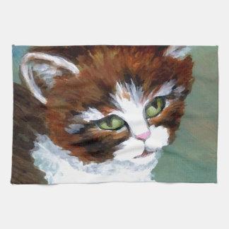 Gato del gatito que presenta los regalos del arte  toalla de mano