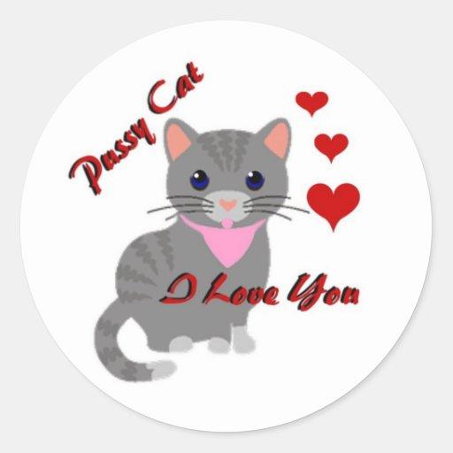 Gato del gatito/te amo pegatinas redondas