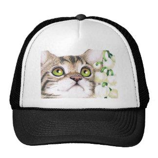 Gato del gatito y casquillo de la flor del lirio d gorras
