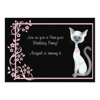 Gato del gatito y chicas del ~ de la invitación invitación 12,7 x 17,8 cm