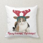 Gato del gatito y Felices Navidad de Freakin de la Cojin