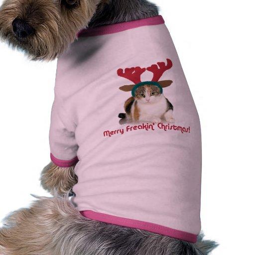 Gato del gatito y Felices Navidad de Freakin de la Camiseta Con Mangas Para Perro