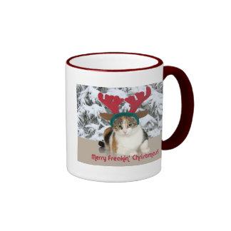 Gato del gatito y Felices Navidad de Freakin de la Tazas De Café