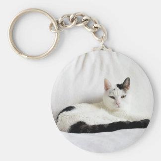 Gato del gato del gatito, blanco y negro que se llavero redondo tipo pin