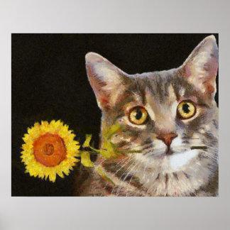 Gato del girasol póster
