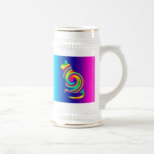 Gato del giro del arco iris tazas de café