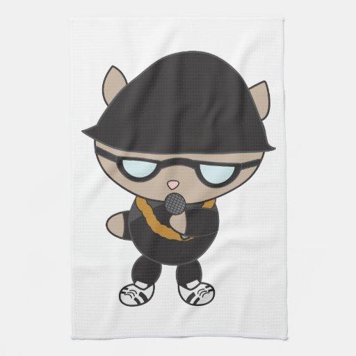 Gato del golpeador en el gorra de Bell Toalla De Cocina