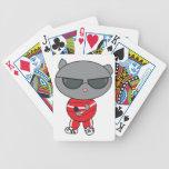 Gato del golpeador en juego de pista cartas de juego