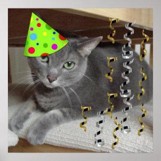 Gato del gris de la fiesta de cumpleaños póster