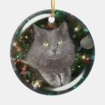 Gato del gris de Smokey Adorno Redondo De Cerámica