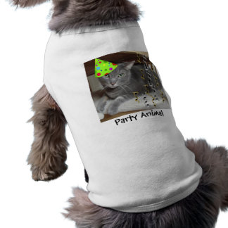Gato del gris del juerguista camiseta de perrito