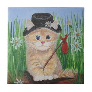 Gato del hobo azulejo cuadrado pequeño