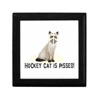 Gato del hockey Pissed Caja De Recuerdo
