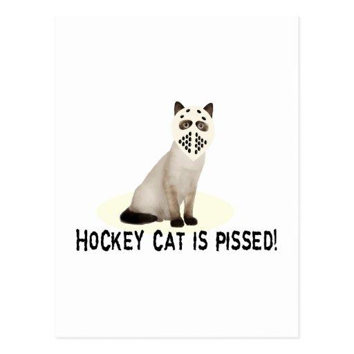 Gato del hockey Pissed Postales