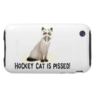 Gato del hockey Pissed Tough iPhone 3 Protectores