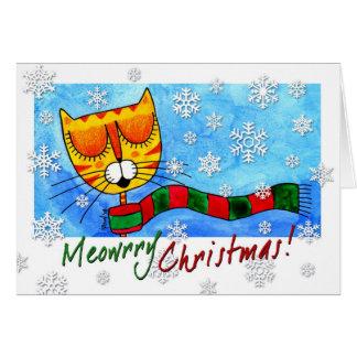 ¡Gato del invierno - navidad de Meowrry! Tarjeta