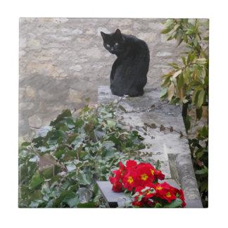 Gato del jardín teja cerámica