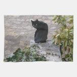Gato del jardín toallas de mano