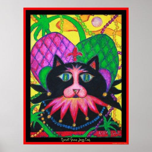 Gato del jazz del carnaval posters