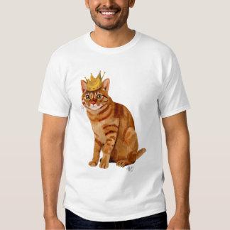 Gato del jengibre con la corona llena playera