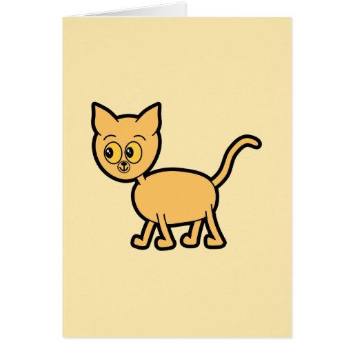 Gato del jengibre con los ojos ambarinos del color tarjeta de felicitación