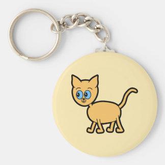 Gato del jengibre con los ojos azules llavero redondo tipo pin