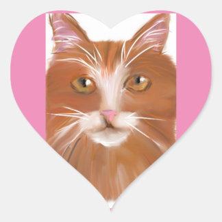 Gato del jengibre en un pegatina del corazón