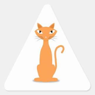 Gato del jengibre pegatina triangular