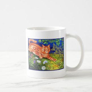 Gato del jengibre taza básica blanca