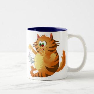 Gato del jengibre taza de dos tonos