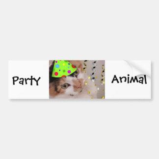 Gato del juerguista/de calicó pegatina de parachoque