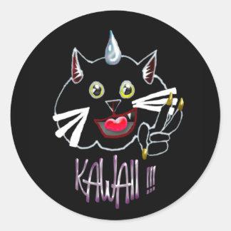 gato del kawaii etiqueta redonda