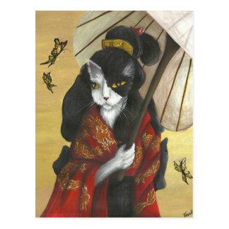 Gato del kimono del dragón del oro tarjetas postales