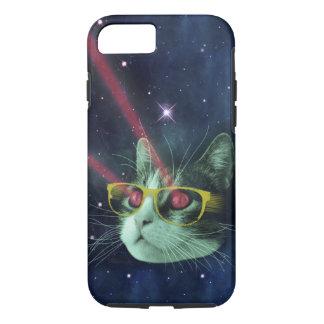 Gato del laser con los vidrios en espacio funda iPhone 7