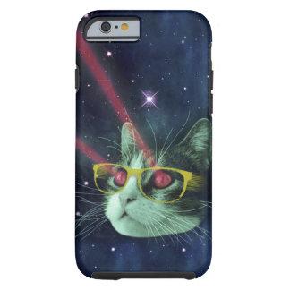 Gato del laser con los vidrios en espacio funda resistente iPhone 6