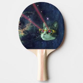 Gato del laser con los vidrios en espacio pala de ping pong