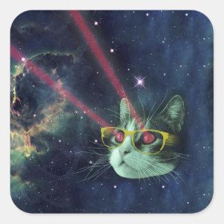 Gato del laser con los vidrios en espacio pegatina cuadrada