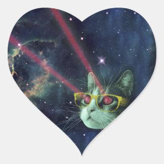 Gato del laser con los vidrios en espacio pegatina en forma de corazón